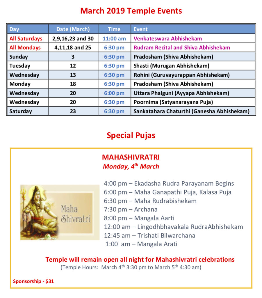 March 2019 Temple Events & Special Pujas – Trimurti Temple
